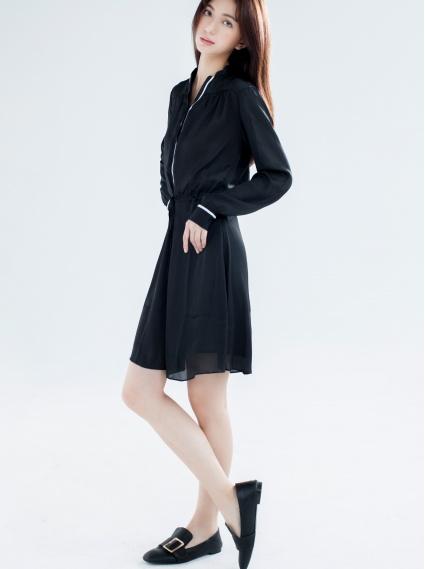 胸抽縐織帶瘦腰洋裝-黑