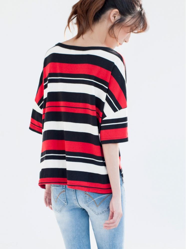 落肩寬袖條紋T-紅