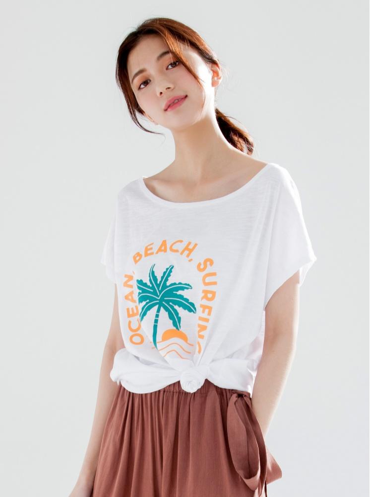 夏日椰樹竹節棉T-白