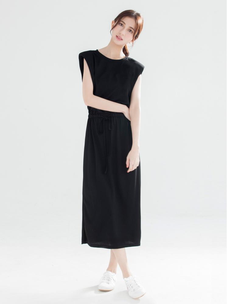 墊肩縮腰素面洋裝-黑