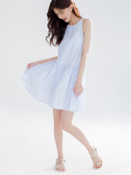 細肩後釦洋裝-淺藍