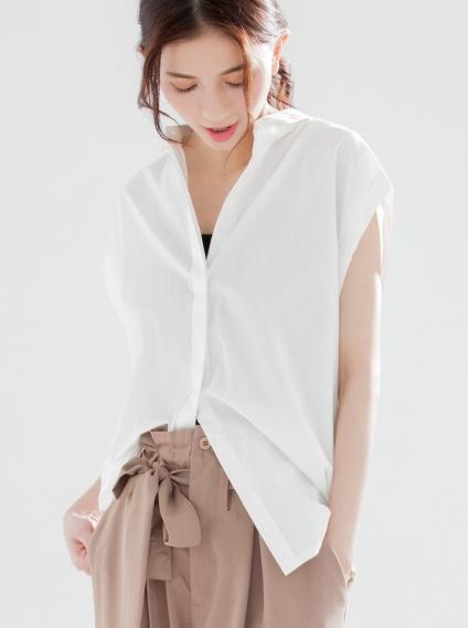 寬版袖口反褶落肩襯衫-米白