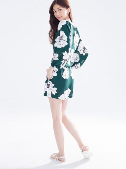 雪紡印花連身短褲-綠