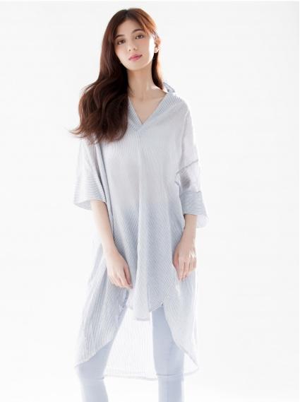 寬鬆條紋薄棉長版衫-黑
