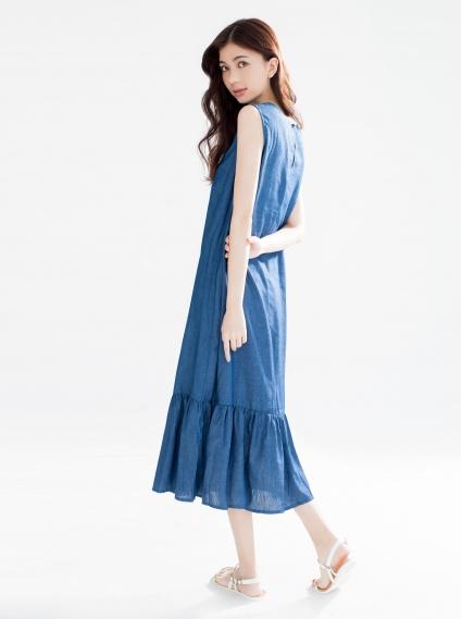 薄丹寧魚尾背心洋裝-藍