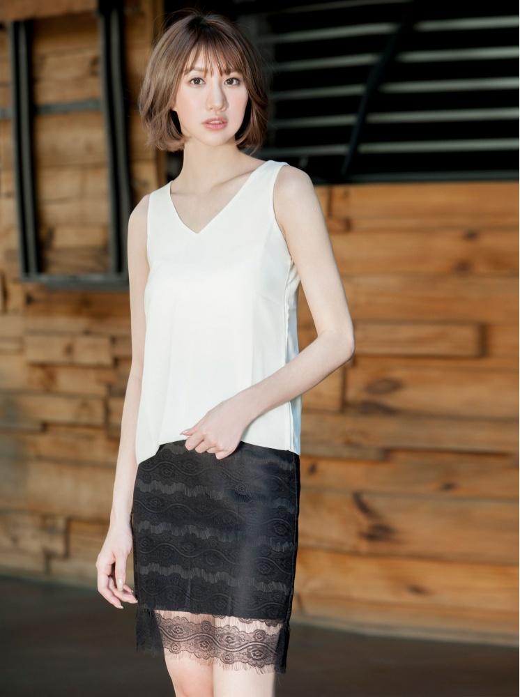 法式薄紗蕾絲裙-黑