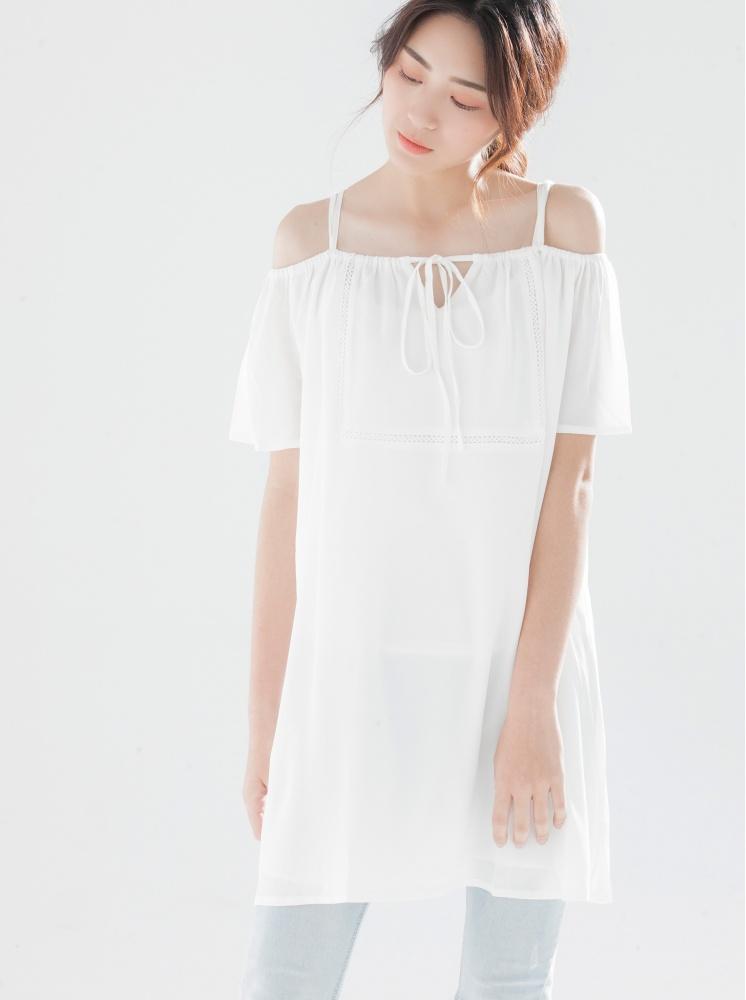 平口寬鬆綁帶洋裝-白