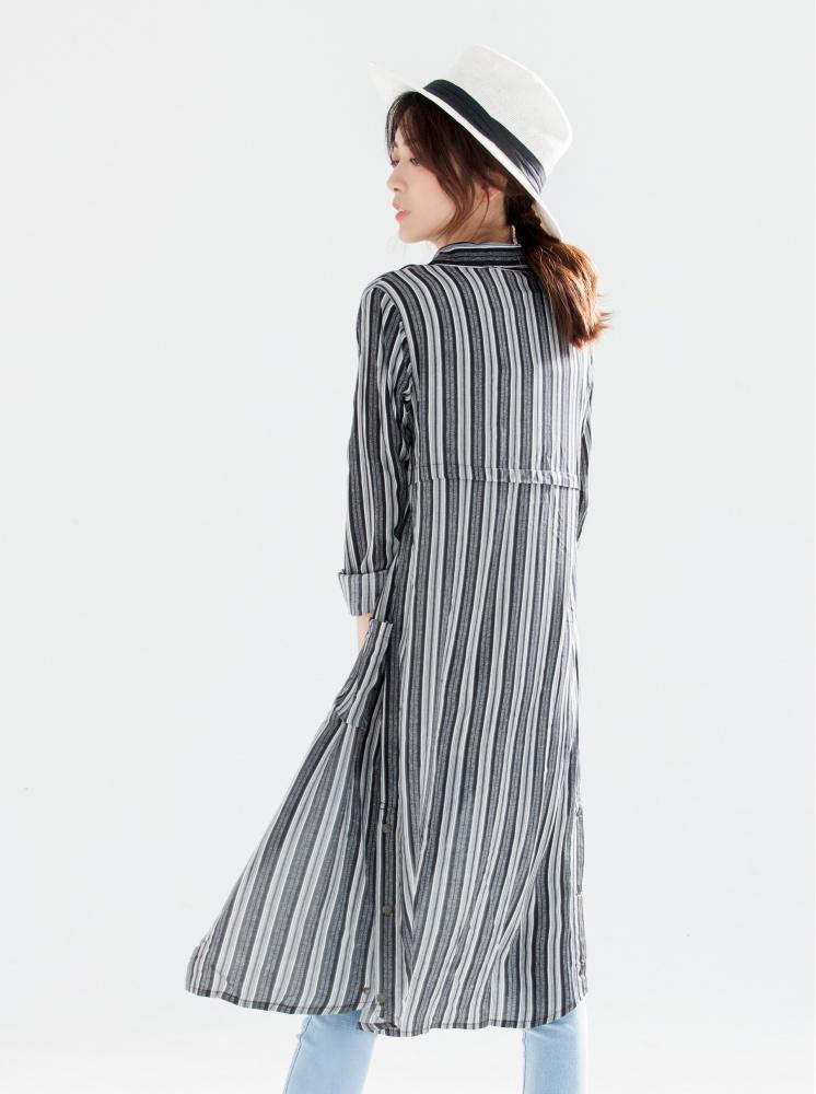 條紋口袋襯衫洋裝-黑