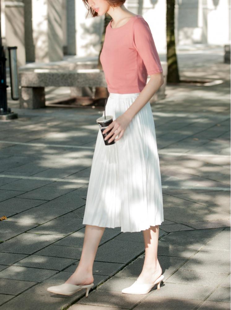 鬆緊百褶中長裙-白