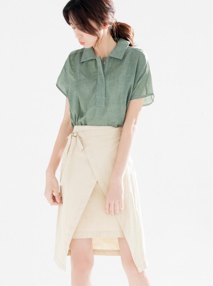 交叉綁帶鉛筆裙-杏