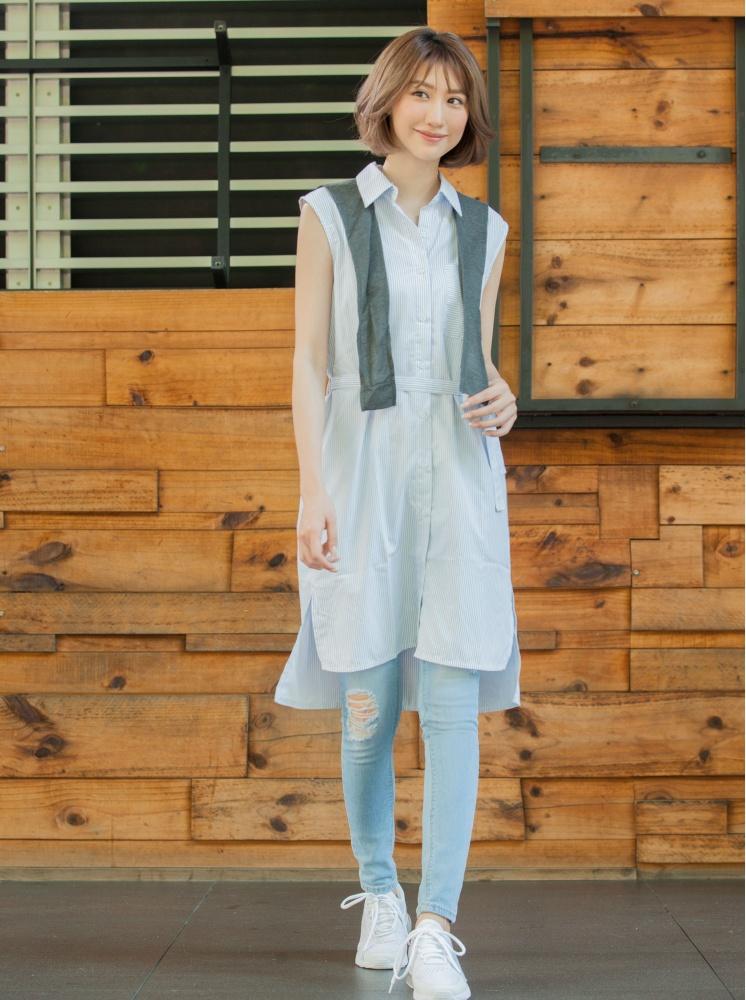 長版襯衫(附披肩)-藍
