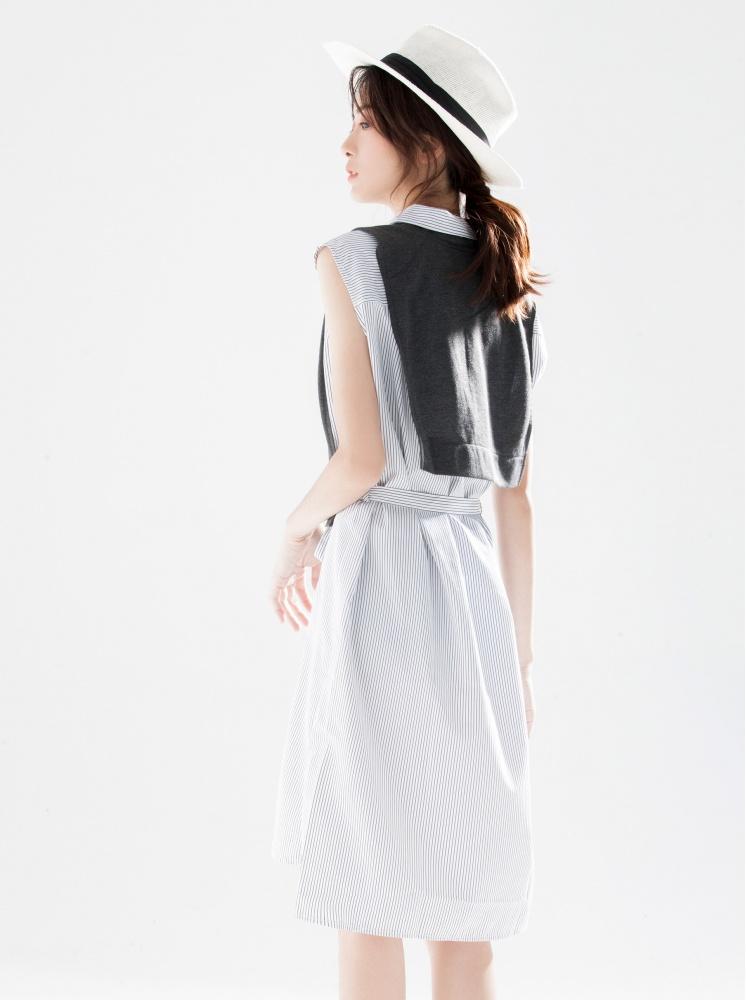長版襯衫(附披肩)-深灰