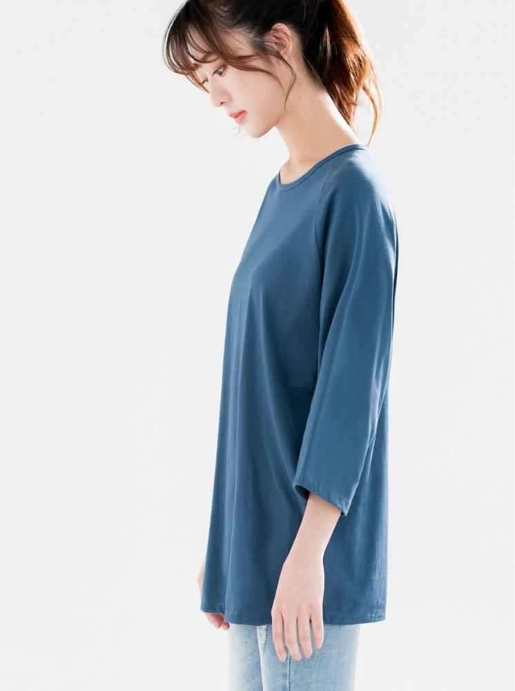 拉格蘭袖素T-灰藍