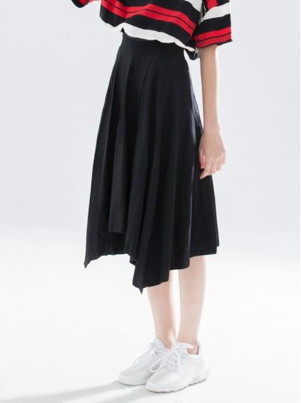 不規則棉質及膝裙-黑