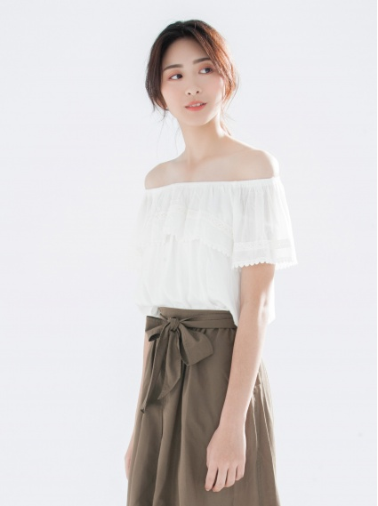棉蕾絲平口上衣-白
