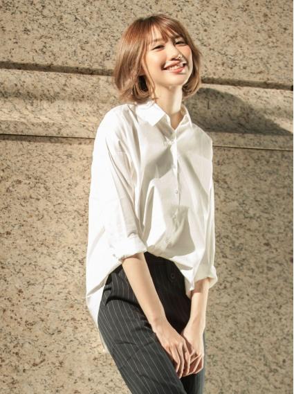 純棉寬鬆落肩襯衫-白