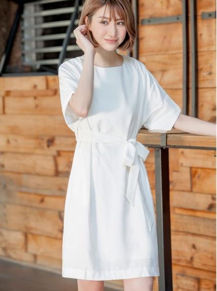 綁帶口袋洋裝-白