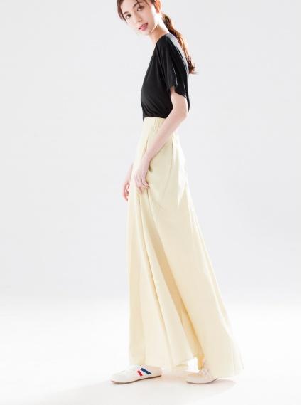 高腰鬆緊長裙-淺卡