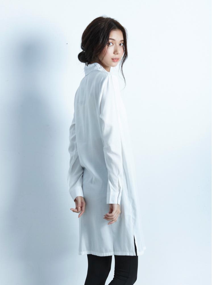 側環釦長版襯衫-本白