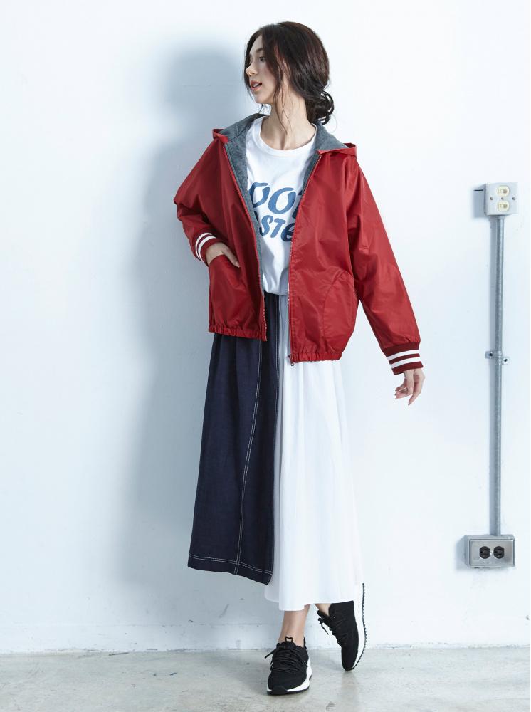 連帽袖羅紋口袋外套-紅