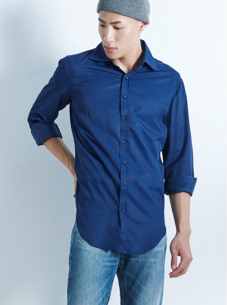 男款紳士款修身襯衫-深藍