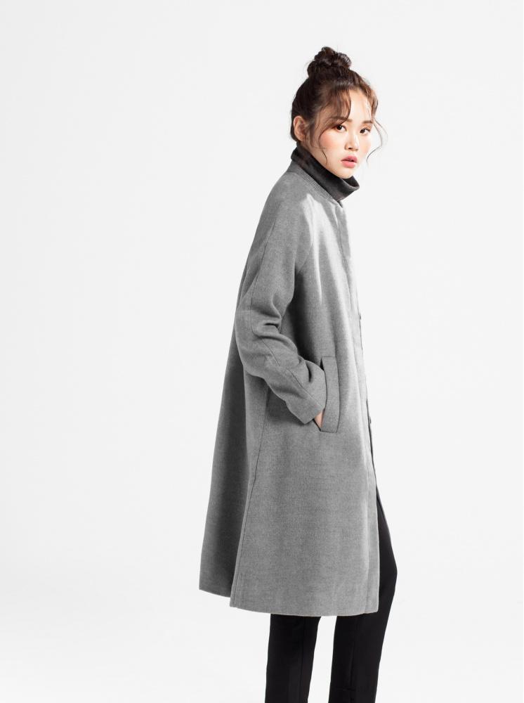 傘型圓領毛呢大衣-灰
