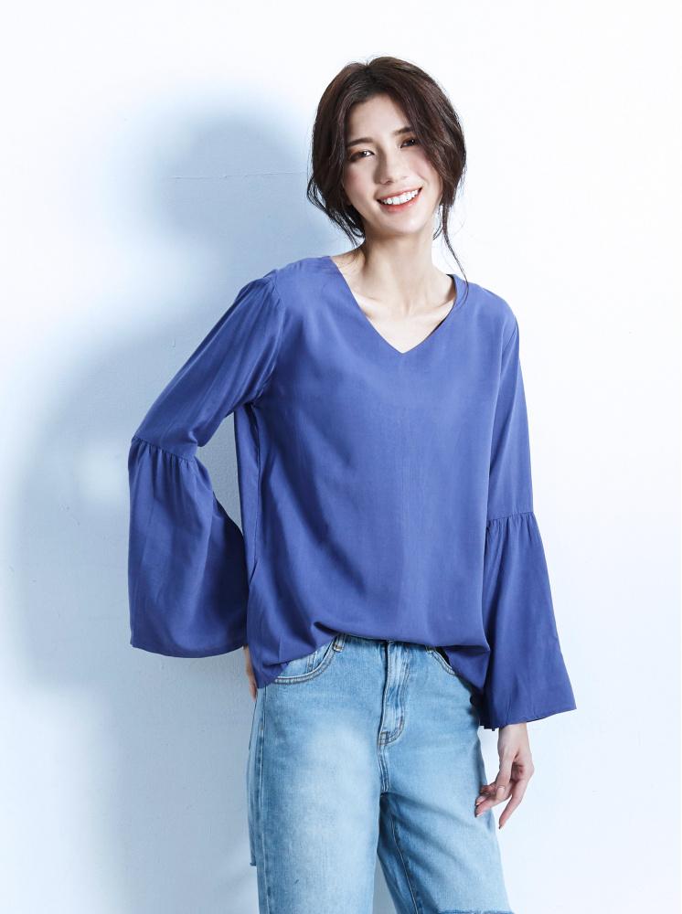 喇叭袖上衣-藍紫