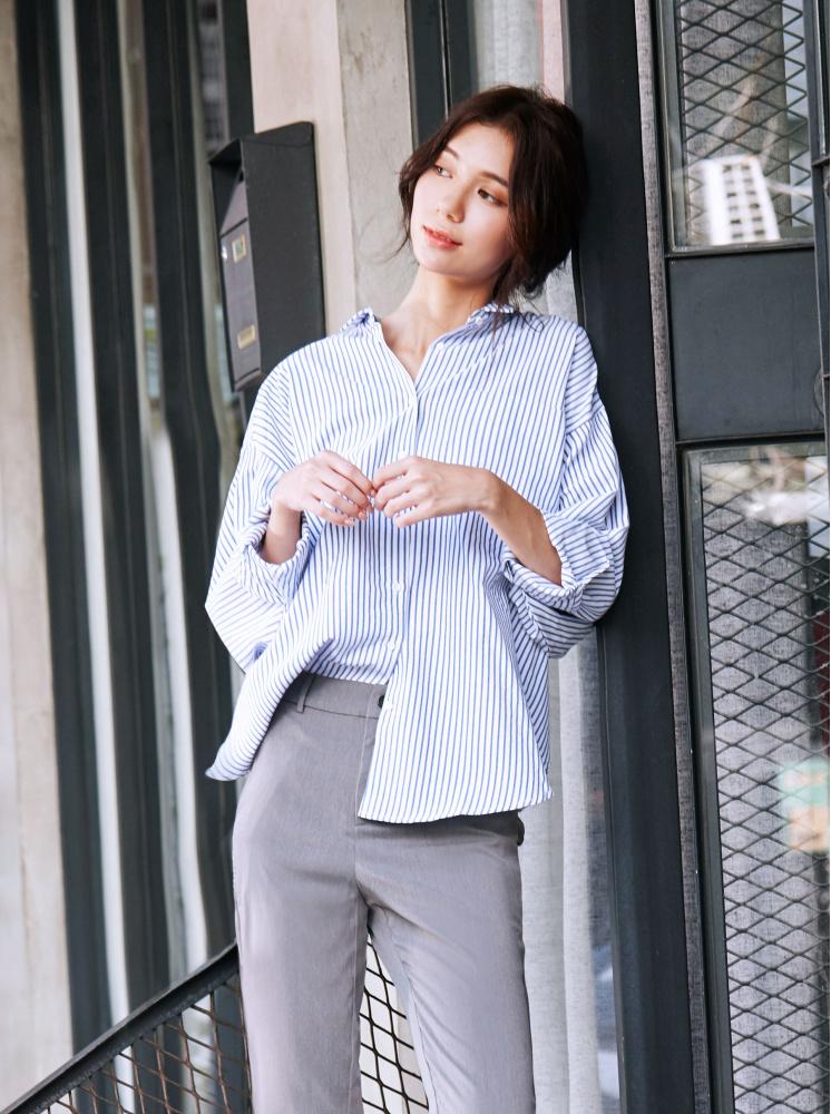 寬鬆條紋襯衫-白
