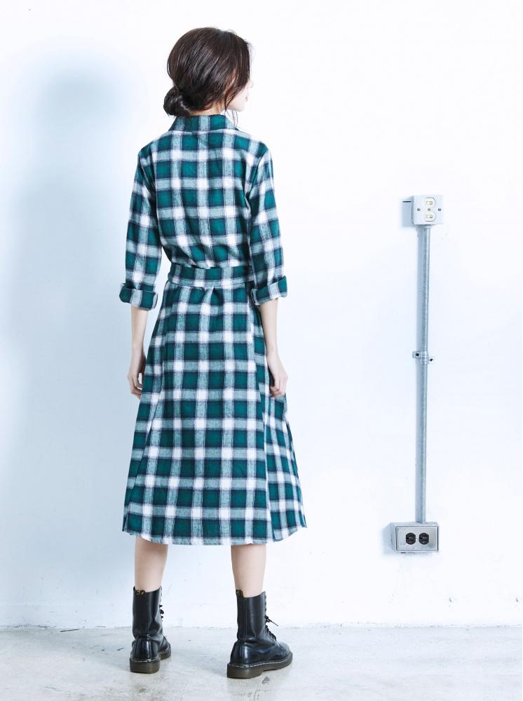 格紋長版綁帶洋裝-綠