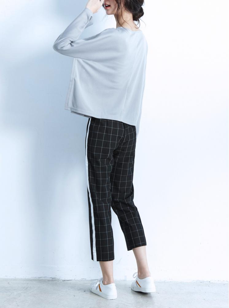 格紋織帶裝飾八分褲-黑