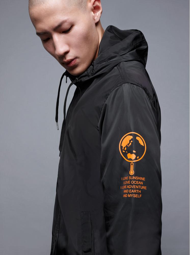 【防風/防水機能】男版A+防潑水運動風衣-黑