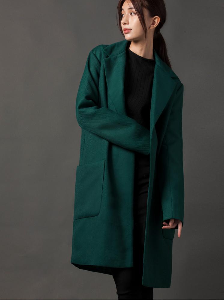 都會斜紋口袋大衣-綠