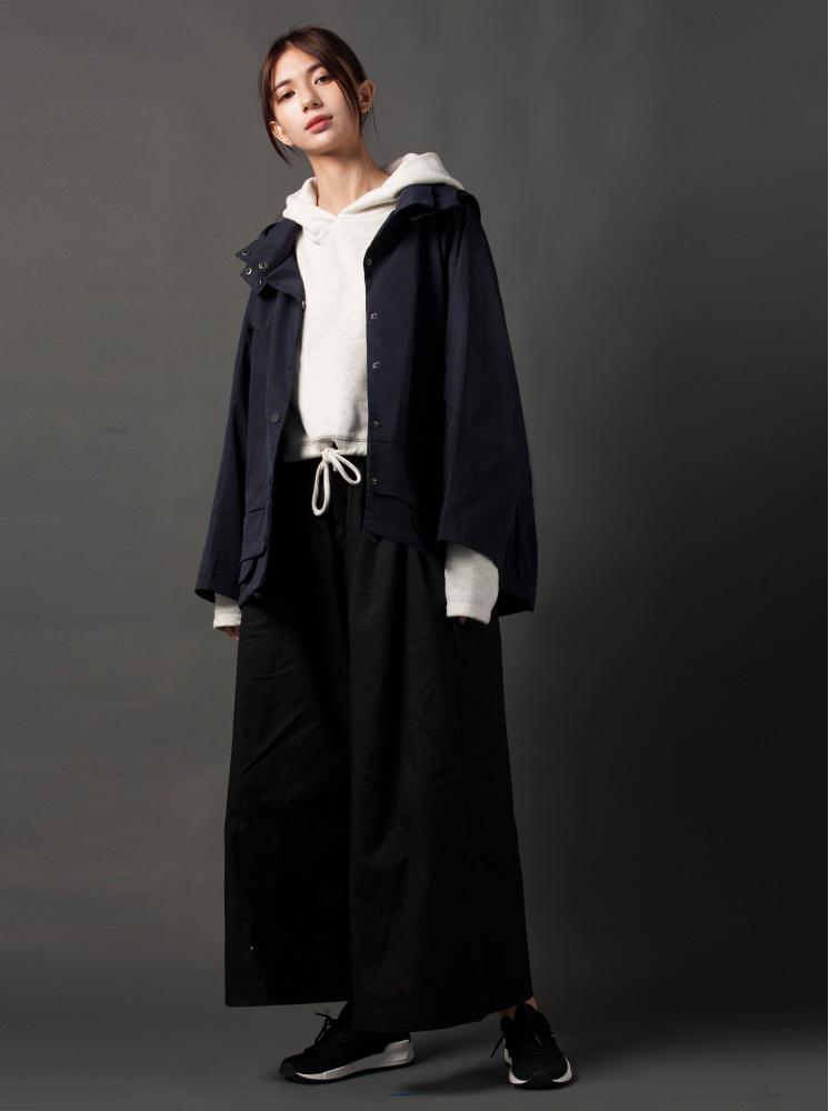 【防風機能】落肩日式風衣外套-深藍
