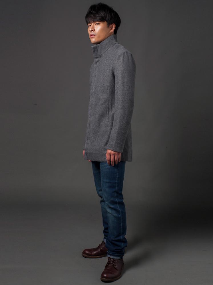 男款小立領合身毛呢外套-深灰