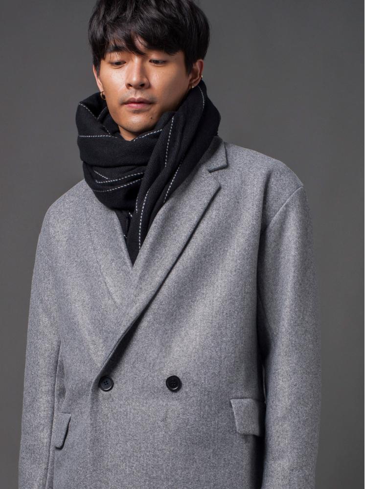 男款西裝領雙釦長版毛呢-淺灰