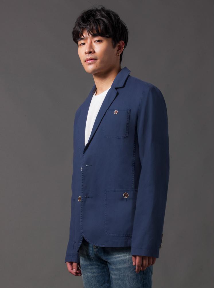男款簡約休閒款西裝外套-藍