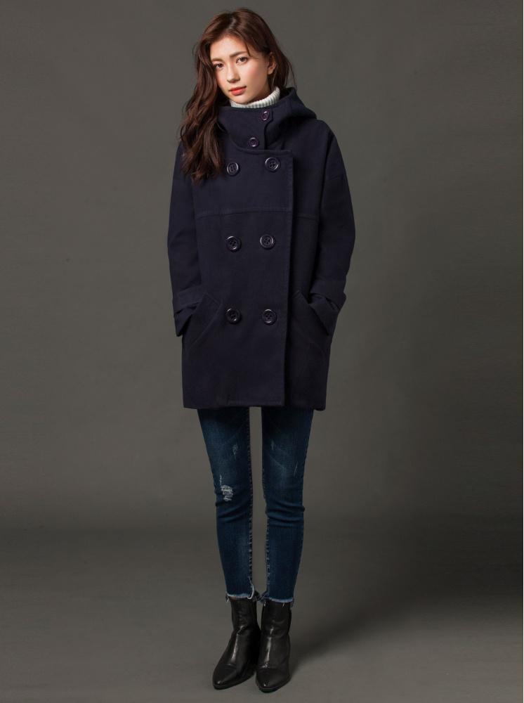 繭型毛呢大衣-深藍