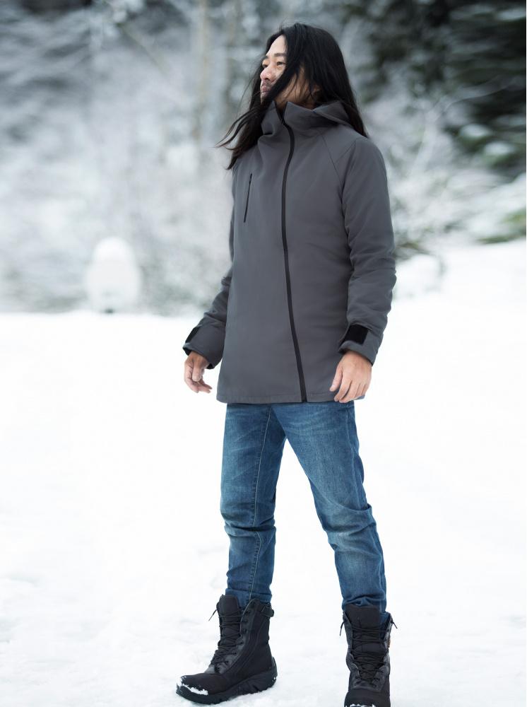 【極地/雪地】男款防水極地高領外套-深灰