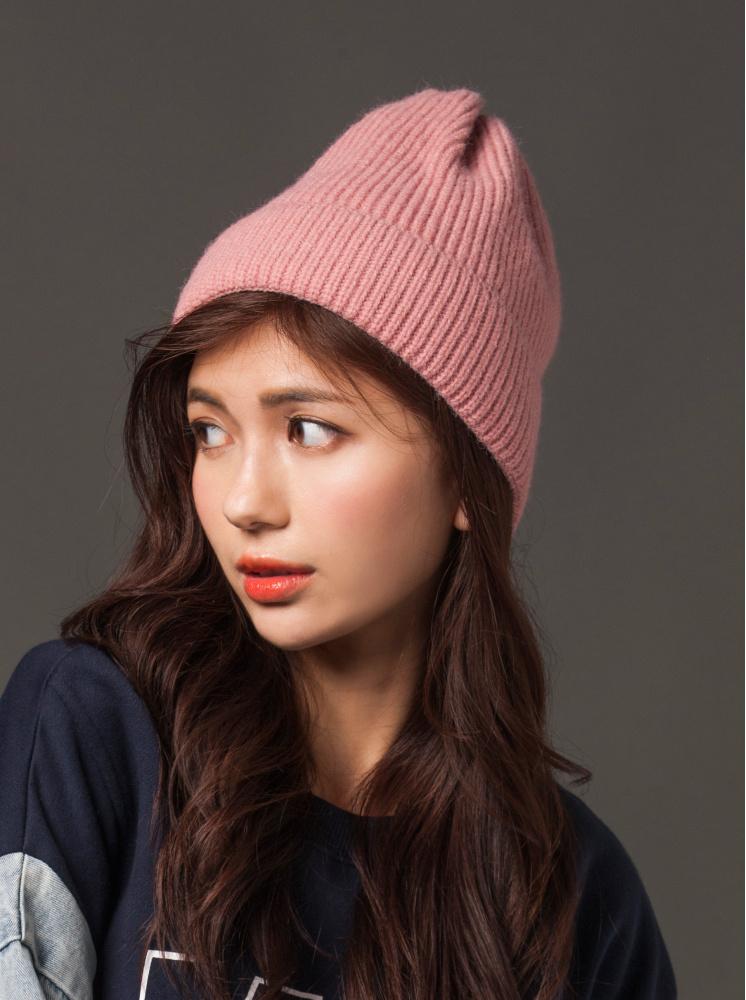 素色反折毛帽-粉
