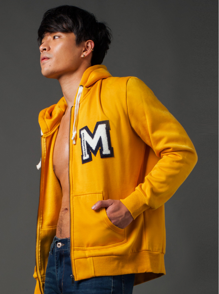 男款運動連帽內刷毛外套-土黃