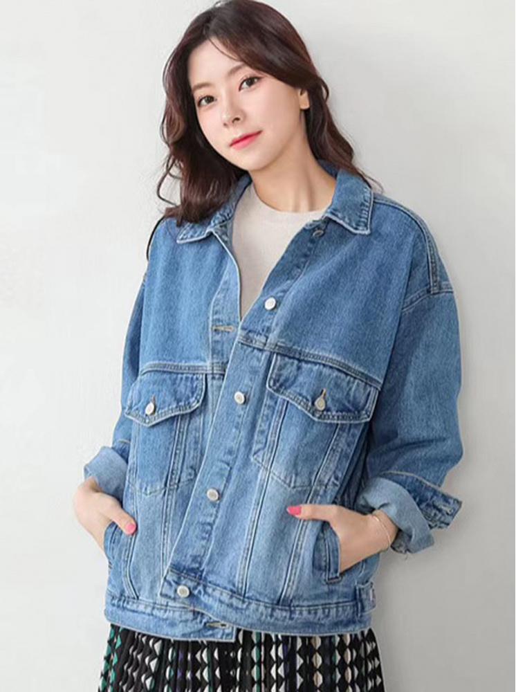韓製落肩丹寧外套-水洗藍