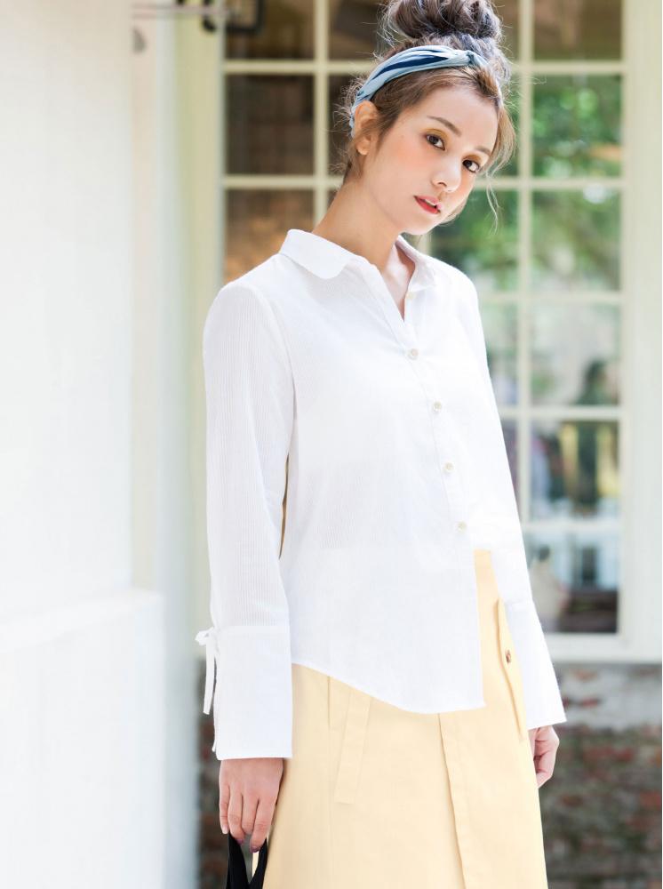 恬靜簡單棉麻襯衫-白