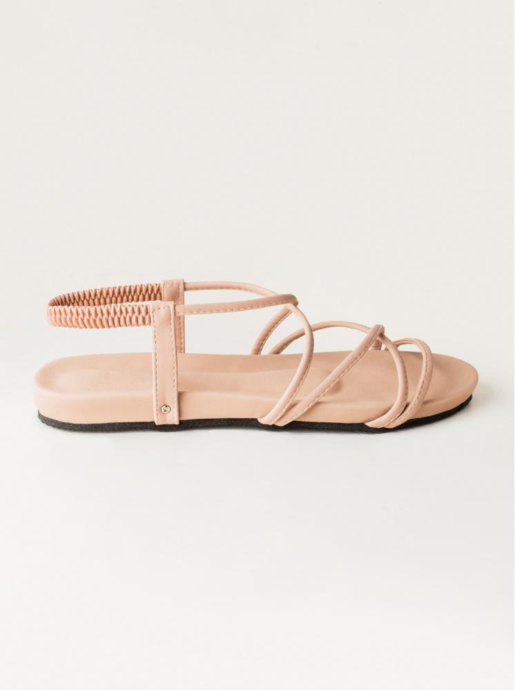 交叉鬆緊涼鞋-粉