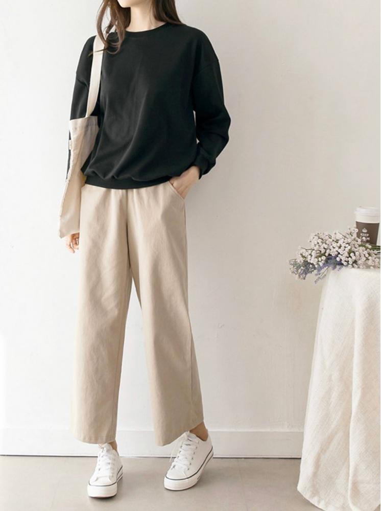 舒適純棉腰鬆緊直筒褲-米白