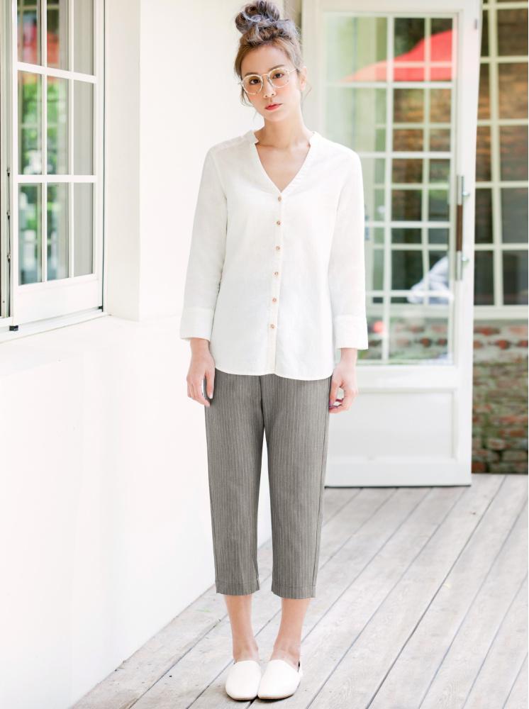 西裝氣質舒適8分褲-灰