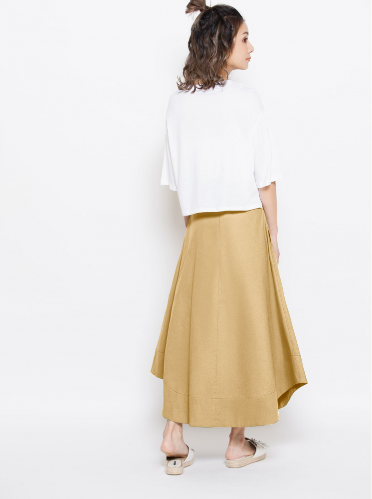 純棉高腰打褶圓裙-淺卡