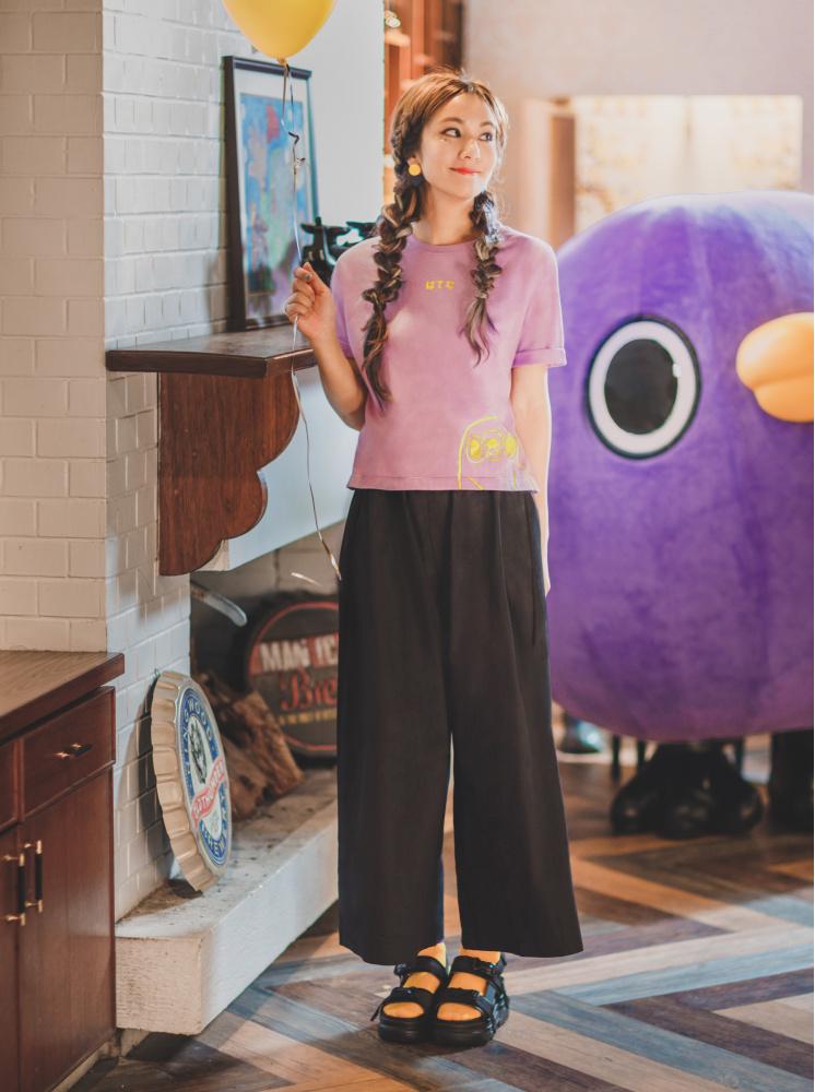 聯名燙金圓領短T-紫
