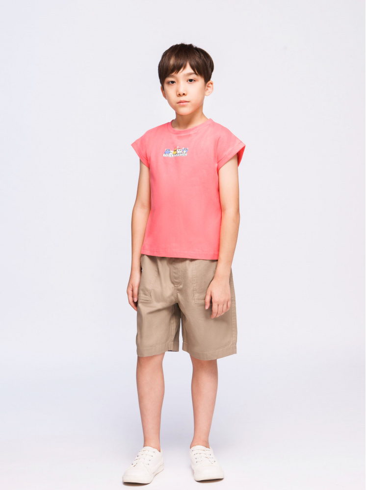 童裝聯名寬鬆T-珊瑚紅(親子款)