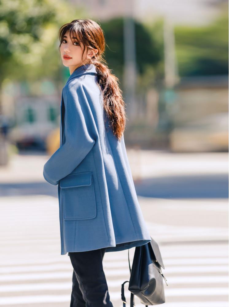 寬鬆大口袋毛呢外套-灰藍