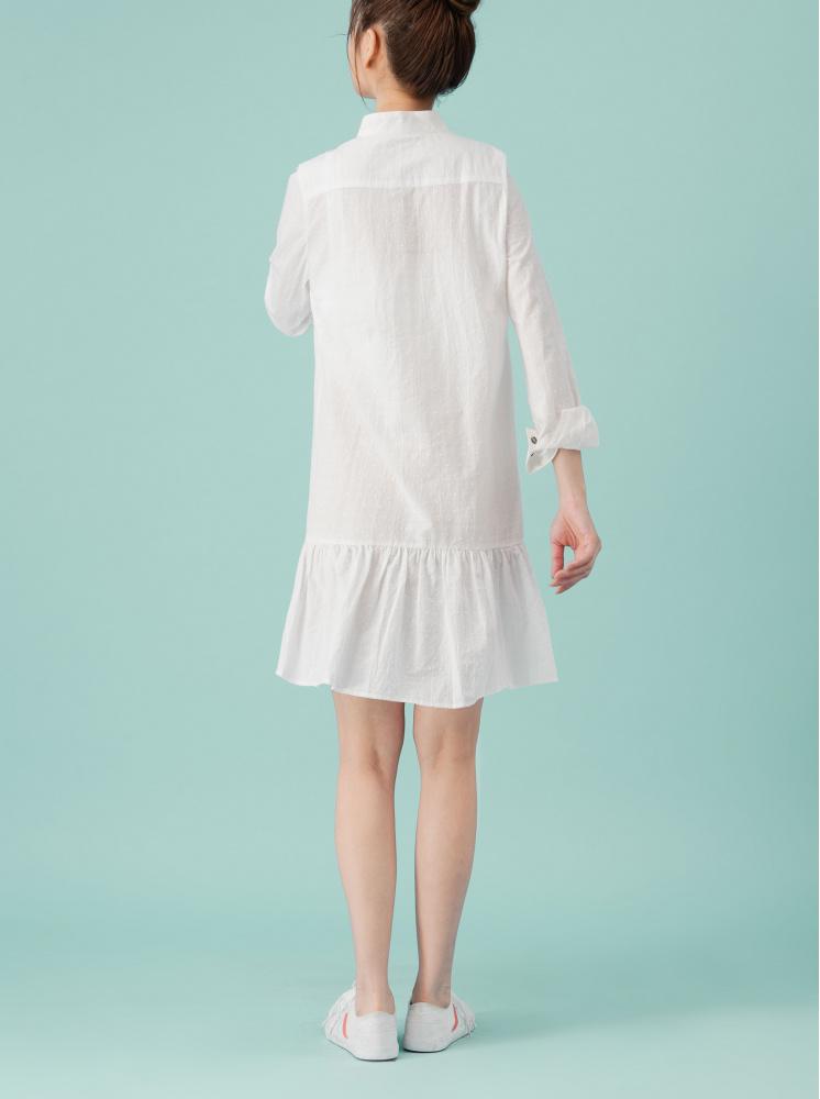 門襟釦連身下擺荷葉洋裝-白